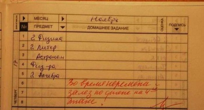 Смешные замечания в школьных дневниках. Часть 2 (31 фото)